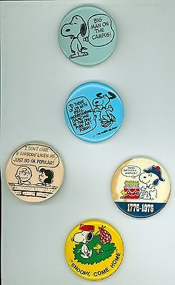 5 Vintage 1960s-70's Peanuts Comics Advertising Pinback Buttons Snoopy Come Home