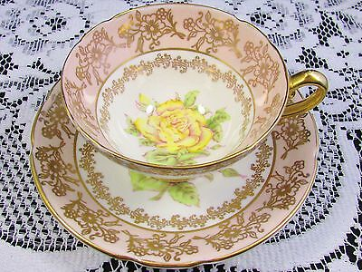 Stanley Yellow Rose Artist Signed Gold Floral Tea Cup And Saucer