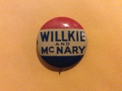 Vintage Willkie And McNary Presidential Campaign Button Pin Rare 1940 Election