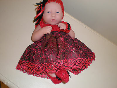 Ooak Hand Crochet Christmas  Set/ Embroidered Tulle Lace For 14 1/2""
