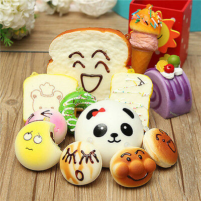 Lot 10pcs Random Squishy Soft Panda/Bread/Cake/Buns Phone Bag Straps Charm