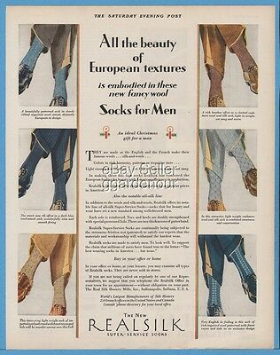 1928 Real Silk Hosiery Mill Indianapolis Indiana 1920s mens vintage clothing Ad