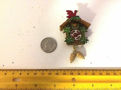 Miniature Dollhouse Cuckoo Clock About 3 In Tall, Incl Chains X 1-3/4 In Wide