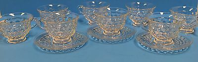 8 Fostoria American Crystal Clear Glass Cups 3 Saucers! Great!