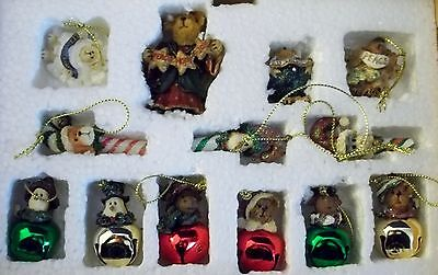 MIB 2004 Boyds Bear Holiday Collection 12 MINI Christmas Ornaments + Tree Topper