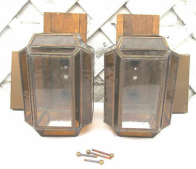 "Pair Vintage Tri-Lite Amber Clear Stained ""Glass"" Wood Box Lantern Porch Sconces"