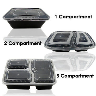 1/2/3 Compartment Microwave Dishwasher Safe Meal Plastic Food Containers Lid UK