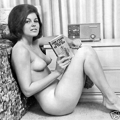 Vintage 1962 Nude sitting on floor reading paperback 8 x 8 Photograph