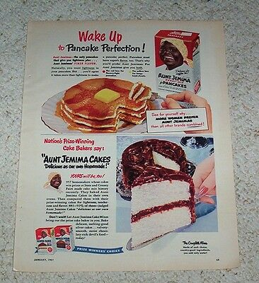 1951 ad page - Aunt Jemima Cakes & Pancakes - vintage print advertising Advert