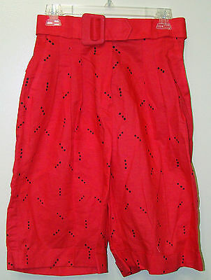 Vintage Red with Black Dots High Rise Belted Waist Cuff Shorts - Size 10