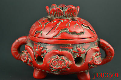 Collectible China Handwork Old Red Resin Carving Lotus Frog Incense Burner