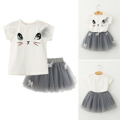 2Pcs Princess Baby Girls Summer T-Shirt Tops +Tutu Tulle Skirt Kids Clothes 1-6Y
