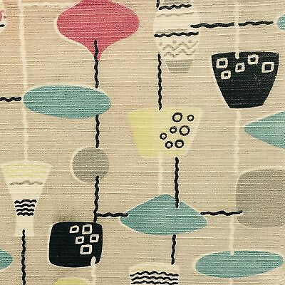 vtg 50's lamp fabric Liberty Lucienne Day Heals Atomic era retro mid-century