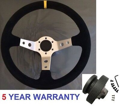 Racing Drift Dished Suede Steering Wheel And Boss Kit Hub Fit Bmw E36 Silver