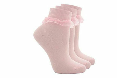 New 3 Pair Cottonique Childrens Kids Girls Pink Frill Ankle socks party wedding