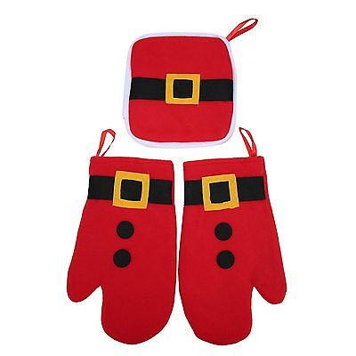 Christmas Ornament Kitchen Thermal Gloves and Heat Pad for Microwave Oven Red