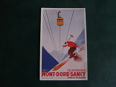 Original Signed French Skiing Advert Poster Postcard - Mont-Dore-Sancy - Norgeu.