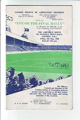 Eve Of The Final Rally Programme May 1960.wolverhampton V Blackburn.signed