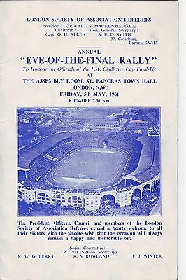Eve Of The Final Rally Programme May 1961.totten Hotspur V Leicester City,signed