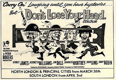 1966 A5 Advert Carry On Don't Lose Your Head Sid James Kenneth Williams Jim Dale
