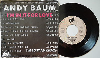 """7"""" Single """"andy Baum"""" I´m In It For Love"""