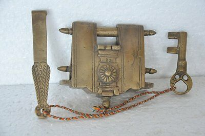 1940's Old Brass Solid Heavy Big 2 Key Tricky / Puzzle Padlock , Rich Patina