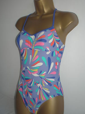 Girls Johnnie D Lilac Mix Print Swimsuit Age 11-12 Years