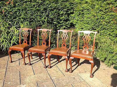 Vintage Set of 4 Chippendale Style Dining Chairs with ball & claw feet