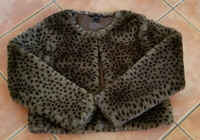 Girls Next Brown Leopard Print Faux Fur Coat Age 9-10Years - Immaculate!!