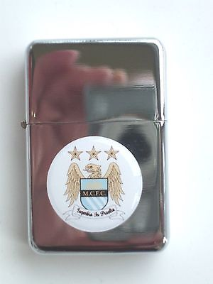 Manchester City Windproof Flip up High Polished Petrol Lighter BOXED New