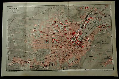 STUTTGART Germany Streets Antique Map City Plan Print Plate German Meyers 1896