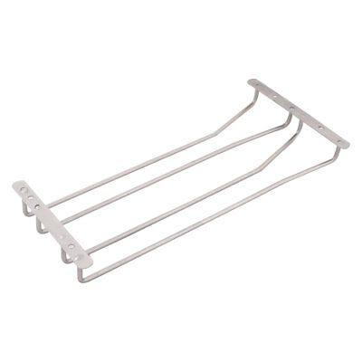 Bar Home Metal 2 Rows Cup Storage Shelf Wine Glass Holder Hang Rack Silver Tone