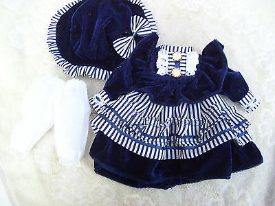 Alte Puppenkleidung Blue Velvet Dress Hat Outfit vintage Doll clothes 28 cm Girl