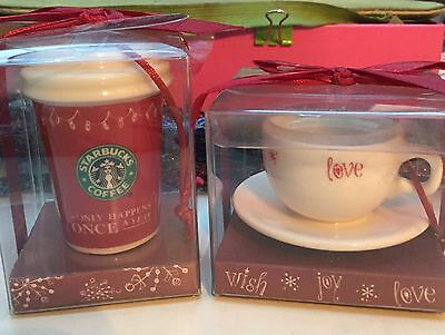 Starbucks Christmas Ornament X 2 Wish Cup Red Cup