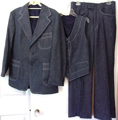 "Vtg Blue Jean/Denim Suit 3 Piece Jacket Vest Pants 40R 30x29.5-addl 2"" hem"
