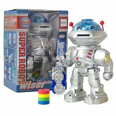Remote Control RC Robot Disc Firing Walking Talking Dancing Light-Up Kids Space