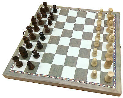 TRADITIONAL CHESS SET BOARD GAME 22cm x 25cm WITH PIECES & STORAGE DRAWERS 20171