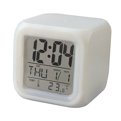 LED Alarm Clock 7 Color Changing Glowing Digital Time Date Thermometer Calendar