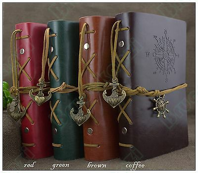 7*5 Handmade Vintage Retro Leather Notebook Travel Journal Diary Nautical Coffee