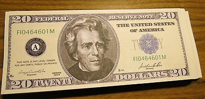 WHOLESALE LOT of 100 FAKE NOVELTY $20 USA DOLLAR BILLS CASINO NIGHT MONEY twenty