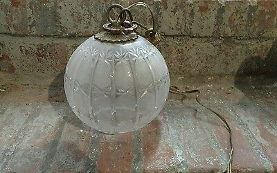 Round Glass Vintage Light Fixture Antique Brass Nice Design Hanging Wall Ball