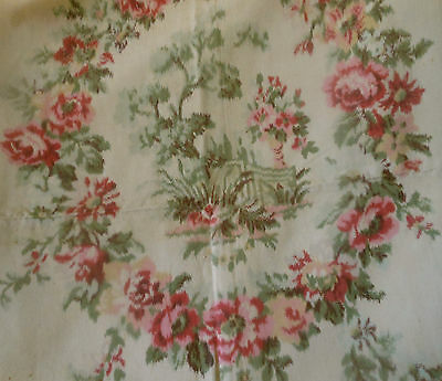 Antique French Watered Roses Garland Cameo Cartouche Fabric ~ rose pink green