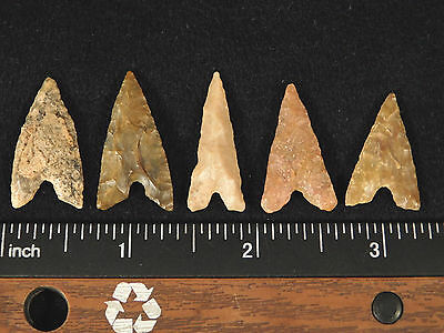 Big Lot of FIVE! G-9 100% Authentic Ancient Arrowheads! 4.37