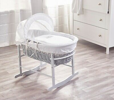 Sleepy Little Owl On GreyWicker Moses Basket and Dove Grey Rocking Stand