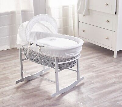 Sleepy Little Owl On GreyWicker Moses Basket on Deluxe Rocking Dove Grey Stand