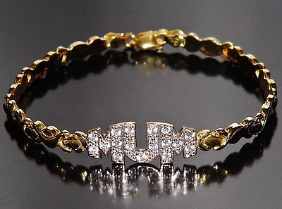 "Beautiful 9ct Yellow Gold on Sterling Silver ""MUM"" Bracelet"