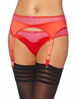 2 x NEW GOSSARD SUSPENDER BELTS RED/PINK AND CHAMPAGNE EXTRA SMALL (XS) - BNWT