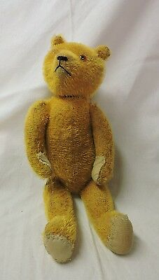 """ANTIQUE VINTAGE - Straw Filled Jointed Large Stuffed 12"""" TEDDY BEAR"""