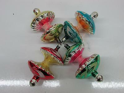 Fancy German Glass Mica Hand Painted Top Apple Core Christmas Ornaments