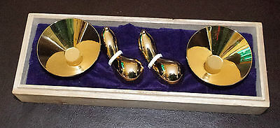 Vintage Gold Plated Japanese Ochoko Sake Cup & Matching Chopstick Rests, Boxed.